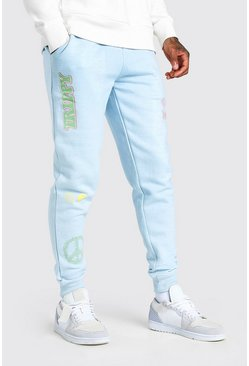 Light blue MAN Official Printed Regular Fit Jogger