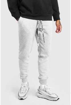 Grey marl grey Skinny Fit Jogger With MAN Drawcords