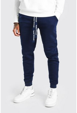 Navy Skinny Fit Jogger With MAN Drawcords