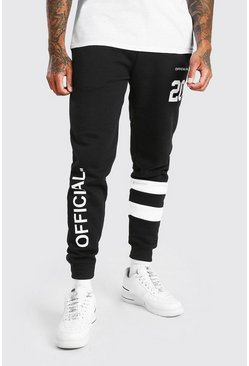 Black Official MAN Varsity Regular Fit Jogger