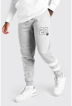 Official MAN Varsity Regular Fit Jogger, Grey marl grigio
