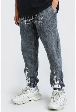 Charcoal MAN Official Flame Print Loose Acid Wash Jogger