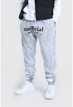 Light grey grey MAN Official Flame Loose Acid Wash Jogger