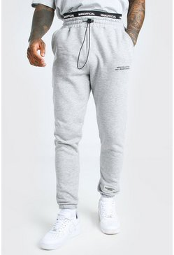 Grey marl grey MAN Embroidered Waistband Regular Fit Jogger