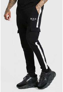 Black Skinny Fit Cargo Jogger With MAN Tape