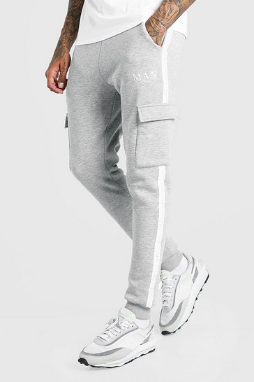 Grey marl grey Skinny Fit Cargo Jogger With MAN Tape