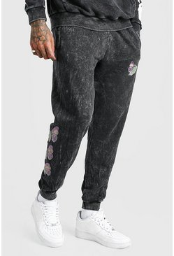 Charcoal grey Official MAN Butterfly  Acid Wash Jogger