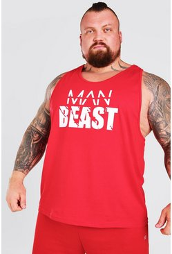 Red Man Active X Beast Front Print Active Racer Tank Top