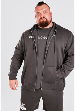 Charcoal grey MAN Active X Beast Print Zip Through Hoodie