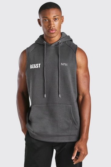 Charcoal grey MAN Active X Beast Printed Sleeveless Hoodie