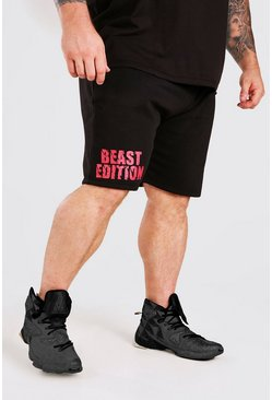 Black MAN Active X Beast Print Mid Length Shorts