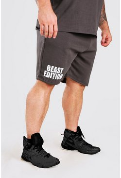Charcoal grey MAN Active X Beast Print Mid Length Shorts