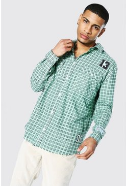 Lime green Oversized Varsity Check Shirt With Badges