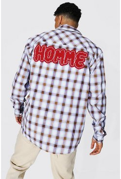 Brown Oversized Applique Homme Check Shirt