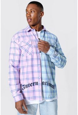 Spliced Check Shirt With Back Print, Multi mehrfarbig