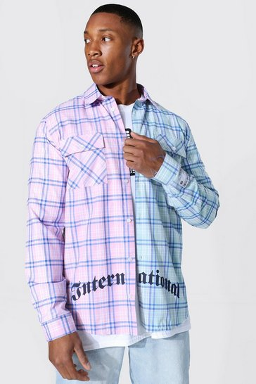 Multi Spliced Check Shirt With Back Print