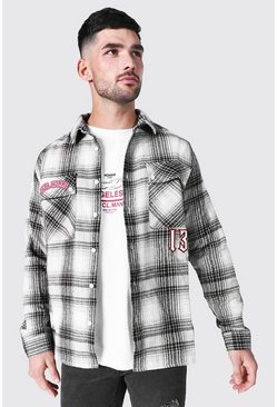 Oversized Worldwide Applique Check Shirt, Black Чёрный