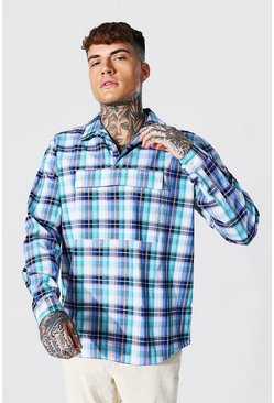 Half Zip Check Overshirt With Front Pocket, Multi Мульти