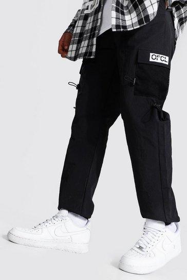 Black Crinkle Shell Man 3d Pocket Cargo Trouser