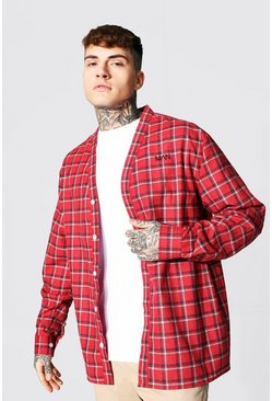 Oversized Man Embroidered Check Shirt, Red rot