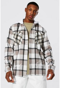 Taupe beige Check Hooded Overshirt