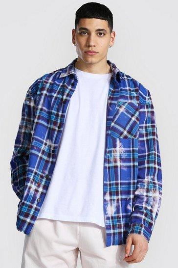Blue Bleached Tie Dye Check Overshirt