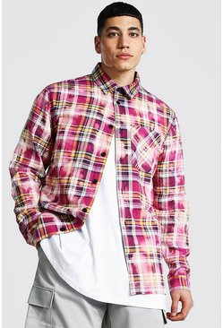 Purple Bleached Tie Dye Check Overshirt