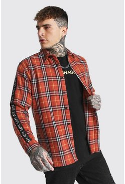 Man Side Tape Check Shirt Overshirt, Orange