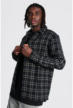 Man Side Tape Check Shirt Overshirt, Khaki khakifarben