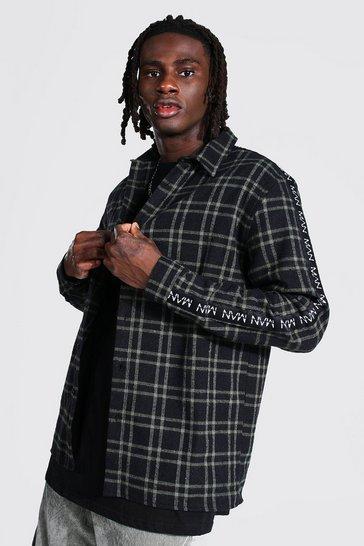 Khaki Man Side Tape Check Shirt Overshirt