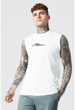 Man Signature Embroidered Sleeveless T-shirt, Natural beis
