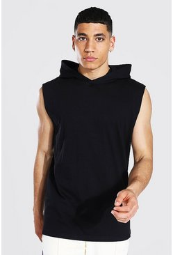 Racer Back Tank With Hood, Black negro