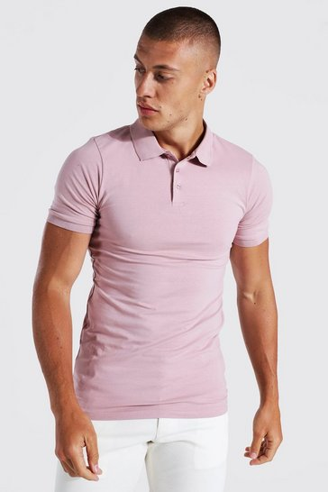Bark brown Short Sleeve Muscle Fit Polo