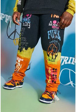 Black Plus Size Regular Fit Graffiti Tie Dye Jogger