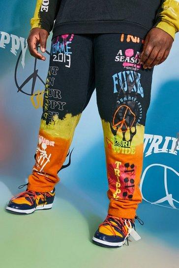 Black Plus Size Regular Fit Graffiti Tie Dye Joggers