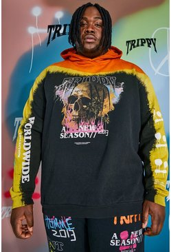 Black Plus Size Loose Fit Tour Skull Tie Dye Hoodie
