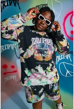 Black Plus Size Loose Fit Trippy Man Tour Sweater