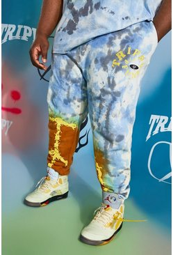 Blue Plus Size Regular Fit Peace Tie Dye Jogger