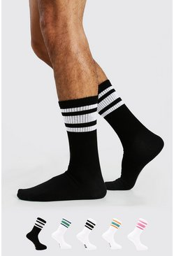 Black MAN Sport Stripe 5 Pack Socks