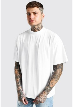 White Oversized Crew Neck T-Shirt With Extended Neck