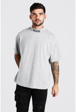 Grey marl Oversized Man Neck Print T-Shirt With Extended