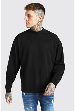 Oversized Long Sleeve T-Shirt With Extended Neck, Black