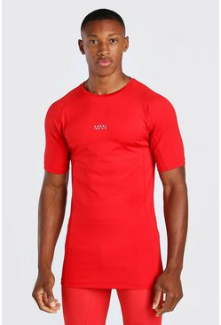 Red röd MAN Active X Beast Print Compression T-Shirt