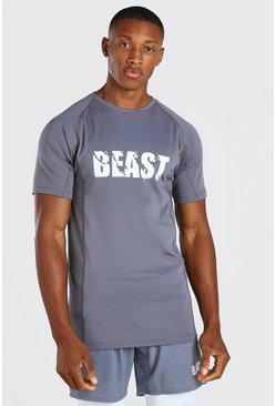 Charcoal grey MAN Active X Beast Print Compression T-Shirt