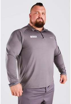 Charcoal grey MAN Active X Beast Muscle Fit Funnel Neck