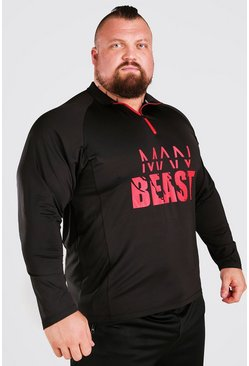 Black MAN Active X Beast Front Print Funnel Neck