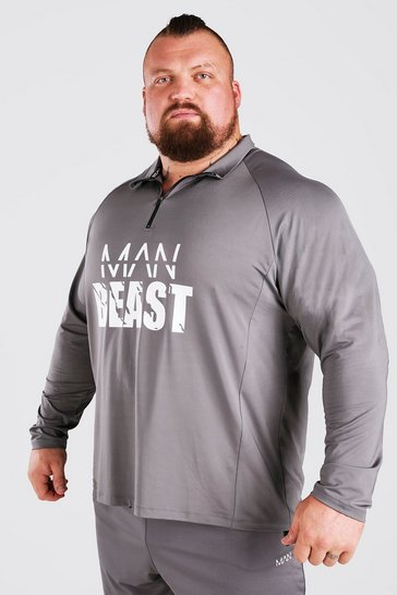 Charcoal grey MAN Active X Beast Front Print Funnel Neck