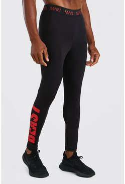 Black MAN Active X Beast Tights With Print Detail