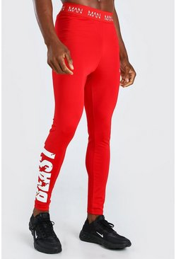 Red röd MAN Active X Beast Tights With Print Detail