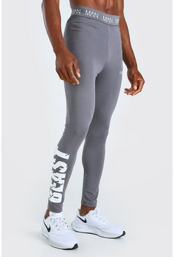 Charcoal grey MAN Active X Beast Tights With Print Detail